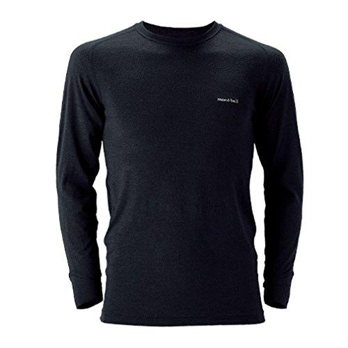 (モンベル)mont-bell スーパーメリノウールM.W.ラウンドネックシャツ Men's ブラック(BK) M 1107235