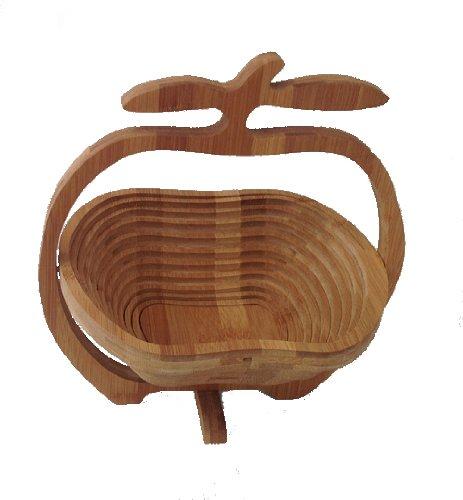 Bambus Obstkorb Apfel Design 2 Dekoschale Obstschale Holz Design faltbar