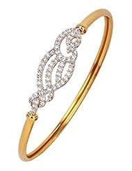 The Jewelbox American Diamond CZ Three Line Openable Kada Bangle Bracelet