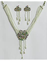 White Pearl Bead Necklace With Multicolor Stone Studded Pendant And Earrings - Synthetic Pearl