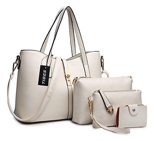 Tibes PU cuir sac a main + epaule de sac de femmes de la mode + porte-monnaie + carte 4pcs mis Blanc