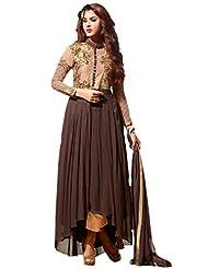 Suchi Fashion Brown & Beige Embroidered Georgette Semistitched Anarkali Suit