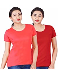 Fleximaa Women's Cotton Round Neck T-Shirt Plain (Pack Of 2) - Coral Red & Red Colors.