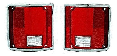 73 – 87 Chevrolet GMC Truck Taillight Pair Set NEW Taillamp Chrome Trim Lens ONLY 73-91 Blazer Jimmy Suburban Driver and Passenger