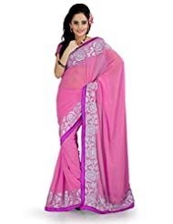 Designersareez Women Faux Georgette Embroidered Blush Pink Saree With Unstitched Blouse(885)