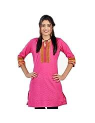 Jaipur RagaExclusive Designer Printed Pink Cotton Kurti Pink Cotton Kurti