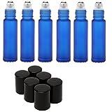 Mavogel SA505131 Roller Bottles With Metal Ball, Cobalt Frosted Glass Black Plastic Lid, 10ml, Set Of 6, Blue