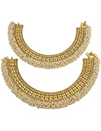 MUCH MORE Traditional Style High Quality Pearl Beads Work Gold Plated Polki Payal For Women & Girls Jewelry