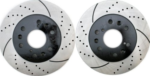 Prime Choice Auto Parts PR65099LR Performance Drilled and Slotted Brake Rotor Pair for Front
