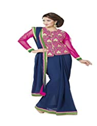 Ambica Border Work Saree With Blouse Piece (Blue)