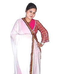 Dulhan Choice Ethnic White Chiffon Dupatta With Multicolour Lace