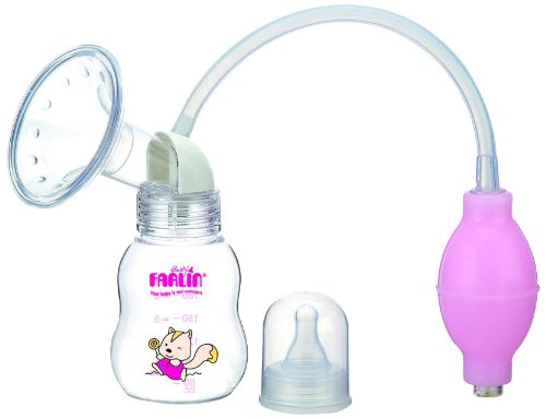 Farlin Manual Plastic Breast Pump With Bottle (Pink)