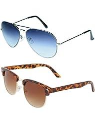 Zyaden COMBO Of Avaitor Sunglasses & Clubmaster Sunglasses (Combo-88)