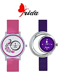 Frida New Latest Beautiful Designer Branded Multi Color PU Belt Analog Awesome Looks Best Offer In Deal Casual...
