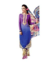 Purple-Blue Shaded Colour Faux Cotton Party Wear Embroidery Printed Pant Style Suit (Kimora) 5403