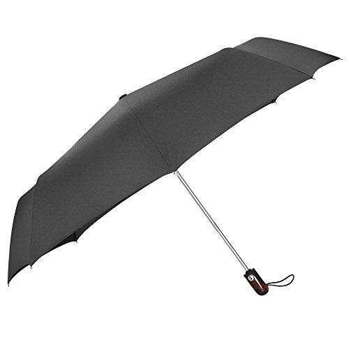 PLEMO Parapluie pliant noir de voyage automatique 44,5'' Solide Incassable