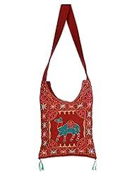 Rajrang Stylish Cotton Embroidered Camel Maroon Sling Bag