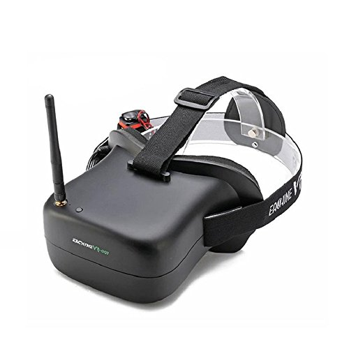 Crazepony Eachine FPV Goggles Vr-007 5.8G 40CH 4.3 Inch TFT LCD Monitor with 7.4V 1600mAh Battery for RC Quadcopter