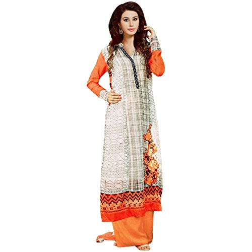 Off White And Orange Georgette Designer Party Wear Salwar Suit