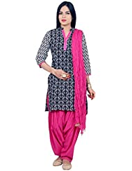 Rama Suit Set Black And White Printed Kurti With Pink Patiala And Dupatta