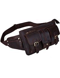 Polare Men's Full Grain Leather Fanny Pack / Waist Bag / Hip Bum Bag