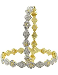 Muchmore 22K Gold Plated Cubic Zircons Made Diamond Look Bangle Set For Women/Girls