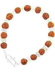 Jewels River Five Faceted Rudraksha With Sphatik Gemstones Beaded Bracelet With Silver Clasp