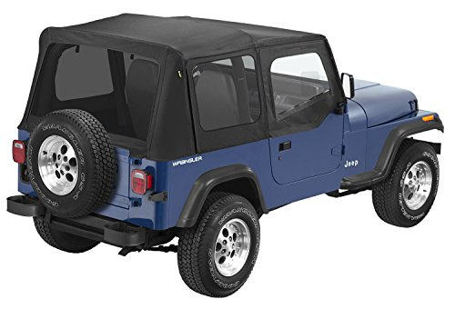 Pavement Ends by Bestop 51132-15 Black Denim Replay Replacement Soft Top Tinted Windows-With upper Door Skins-No frame hardware included- 1988-1995 Jeep Wrangler