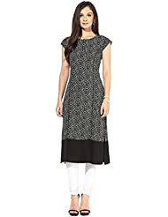 Queen Creation Women's Crepe Black Colour Printed Kurti(Black Colour) - B01LH7CMJQ