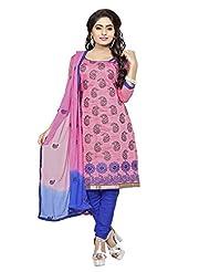 Divya Emporio Unstitched Cotton Silk Salwar Suit Dupatta(DE-012_Pink)