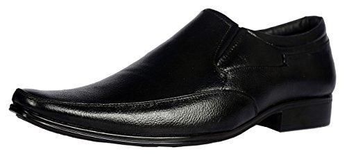 KingsToy Men's Black Leather Formal Slip On - B013ATP8DQ