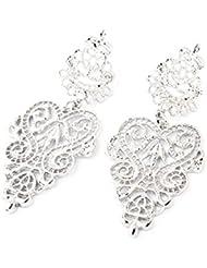ISweven Silver Color Vintage Hollow Flower Dangle Drop Bohemia Golden Fashion Long 6.5cmx2.8cm Drop Earring Girls...