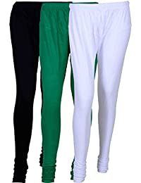 Fashion And Freedom Women's Cotton Leggings Pack Of 3_FFCL_BGW_BLACK-GREEN-WHITE_FREESIZE
