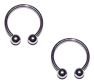 horseshoe barbell earrings 2x pieces 12 12g 316l stainless steel 8201