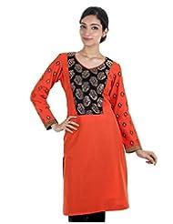 Dashing Orange Cotton Kurta With Printed Sleeve