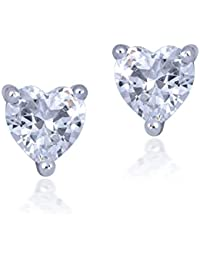Shiyara Jewells Sterling Silver Striking Heart Earrings With CZ Stones For Women(ER00723P)