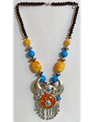 Yellow And Blue Bead Necklace With Metal Horn Pendant - Beads And Metal