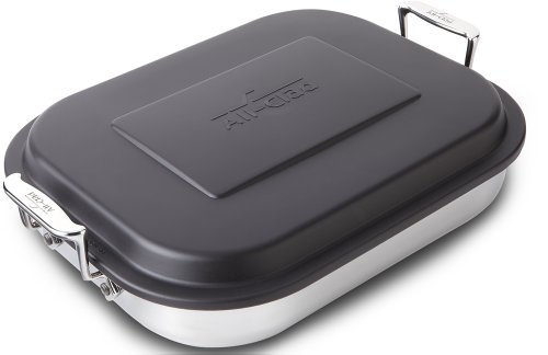 All-Clad 59946 Stainless Steel Lasagna Pan with Lid Specialty Cookware, 14.5 by 11.75 by 2.5-Inch, Silver