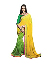 Status Green & Yellow Color Georgette Saree.