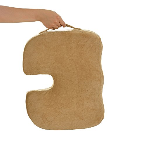 Dr. Ergo – Orthopedic Coccyx Memory Foam Seat Cushion for Sciatica Pain Relief, Back Support, Ergonomic Chair Accessories, Car, Stadium, Wheelchair Scooter, Truck Driver Sacral Wedge Donut Pillow -Tan