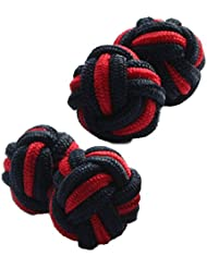 Black & Red Silk Knot Cufflinks | Two Pairs | Cuffs & Co