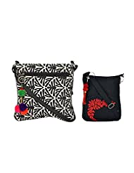 Combo Of Tribe B&W Crossbody Sling With Tassel With Black Small Sling Bag