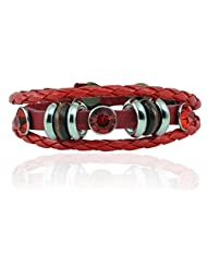 "ALPHA MAN ""With A Touch Of Style Red, ""Brown Thread-Woven Faux Leather Bracelet"