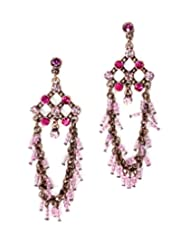 Freedom And Culture Purple Brass Studded Stone Earrings With Sea Beads For Women