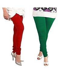 Lux Womens Churidar Cotton Leggings (Set Of 2) - L 12-20
