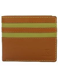 K London Leather Mens Wallet (Tan,Green & Black)(803_tan_green)