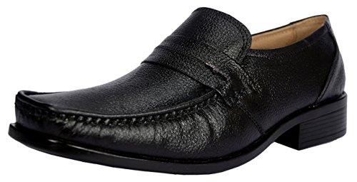 KingsToy Men's Black Leather Formal Slip On - B013ATNBH6