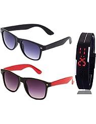 BLACK WAYFARER SUNGLASSES AND WAYFARER BLACK RED SUNGLASSES WITH TPU BAND RED LED DIGITAL BLACK DIAL UNISEX WATCH