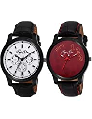 Pappi Boss Classic Collection Pack Of 2 Leather Strap Analog Men's Wrist Watch