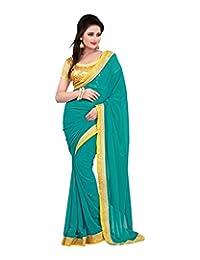 Bano Tradelink Women's Chiffon Saree (Turquoise)